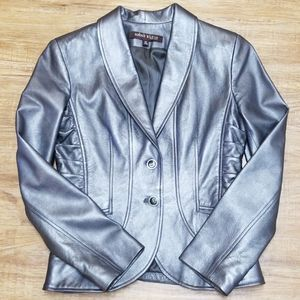 Anne Klein metallic silver leather jacket